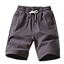 Mens Breathable Cotton Knee-Length Loose Straight-Leg Shorts Pants with Drawstring