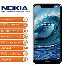 "Nokia X5 5.86"" HD+ (3GB RAM + 32GB ROM) Android 8.1, (13.0MP + 5.0MP) + 8.0MP - BLACK"