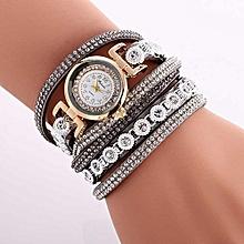 Women Ladies Metal Decorative Circle Quartz Watch Winding Bracelet GY