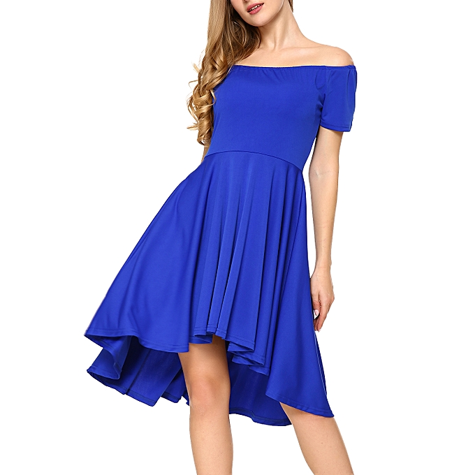 Generic Women Off Shoulder Short Sleeve High Low Skater Dress Royal Blue M 67b63fc8c