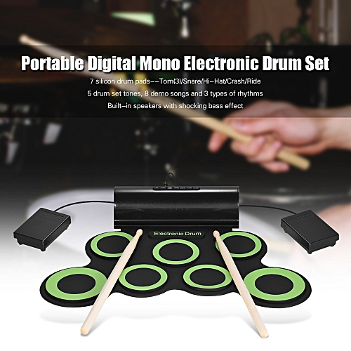 Portable Digital Mono Electronic Drum Set Kit 7 Silicon Pads Built-in  Speaker USB Powered with Drumsticks Foot Pedals 3 5mm Audio Cable for  Practice