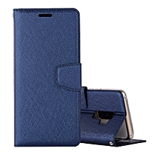 For Galaxy S9+ Silk Texture Horizontal Flip Leather Case with Holder & Card slots & Wallet & Photo Frame (Dark Blue)
