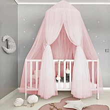Baby Kids Round Dome Bed Canopy Mosquito Netting Curtain Home Bedroom Decoration(Pink)