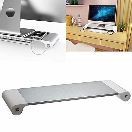 Uk Monitor Riser Stand Save Space Storage Table Desktop Usb For Computer Laptop Pad White