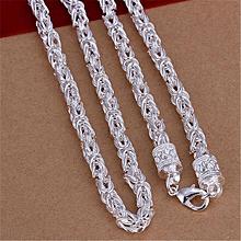 Olivaren Jewellery New Fashion 925 Silver Unique Design Woman Mens Necklace -Silver