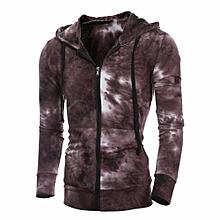 Men's Autumn Winter Long Sleeve Zipper Hooded Tops Blouse CO/L- Coffee