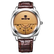 SKONE New Design Brand Fashion Leather Strap Casual Men Watches 501706(Coffee) JY-M
