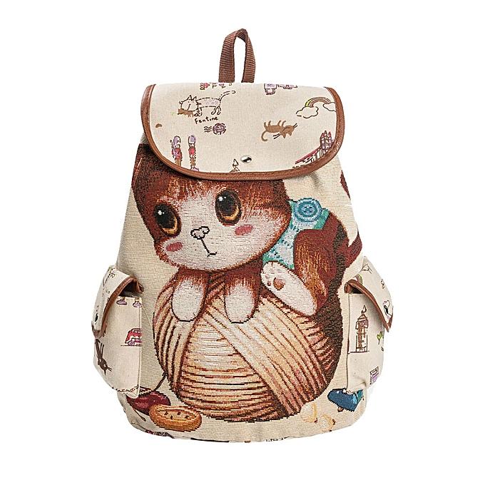 031e91c6c5 Fashion Xiuxingzi_Fashion Canvas School Backpack Women Lovely Cat Printed  Drawstring Backpack