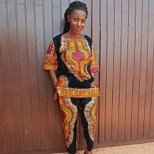 Hiamok Women Fashion African Print Casual Straight Print Tops+Pants