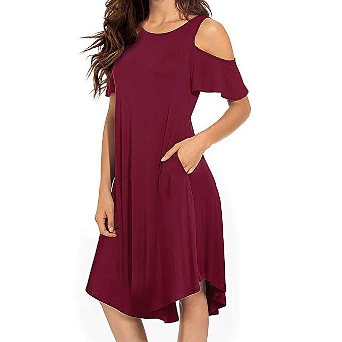 d6eebe732f0e Fashion Women's Casual Cold Shoulder Midi Dress Short Sleeve Swing Dress  With Pockets