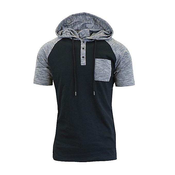 8f77ecb44 Fashion Men Stylish Hit Color Front Pocket Short Sleeve Hooded T ...