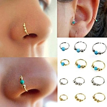 Olivaren 1xStainless Steel Nose Ring Turquoise Nostril Hoop Nose Earring Piercing Jewelry -Gold