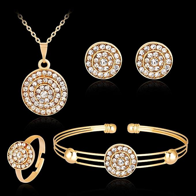 57f0dcba06 New Stylish Full Rhinestones Round Set Jewelry Necklace Earrings Ring  Bracelet