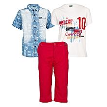 Blue Denim Shirt Plus White T-Shirt With A Short