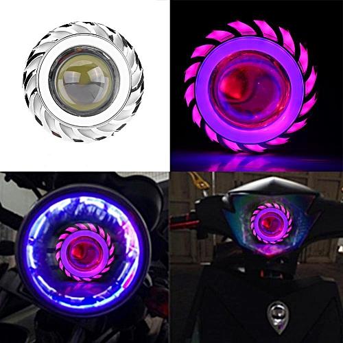 Motorcycle LED Kit Headlight Projector Lens Dual Angel Devil Eye Head Lamp  Cyclone-Type