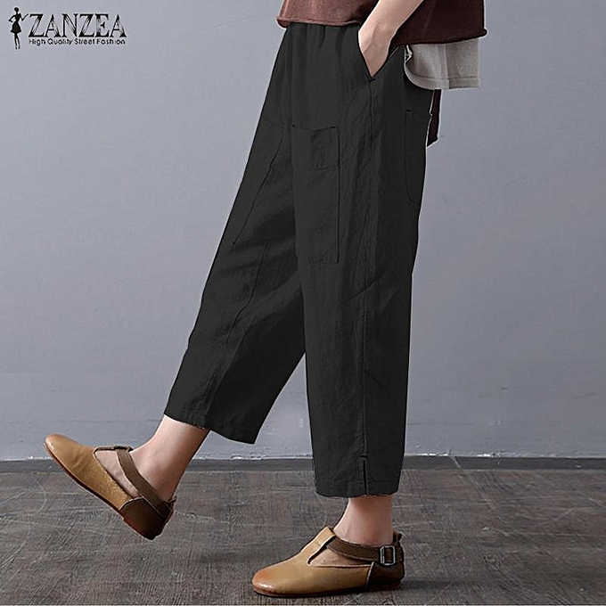 113b09bcfa5 ... ZANZEA Women Summer Vintage Wide Leg Elastic Waist Cropped Harem Pants  Trousers ...