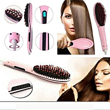 Ceramic hair brush straightener (pink)