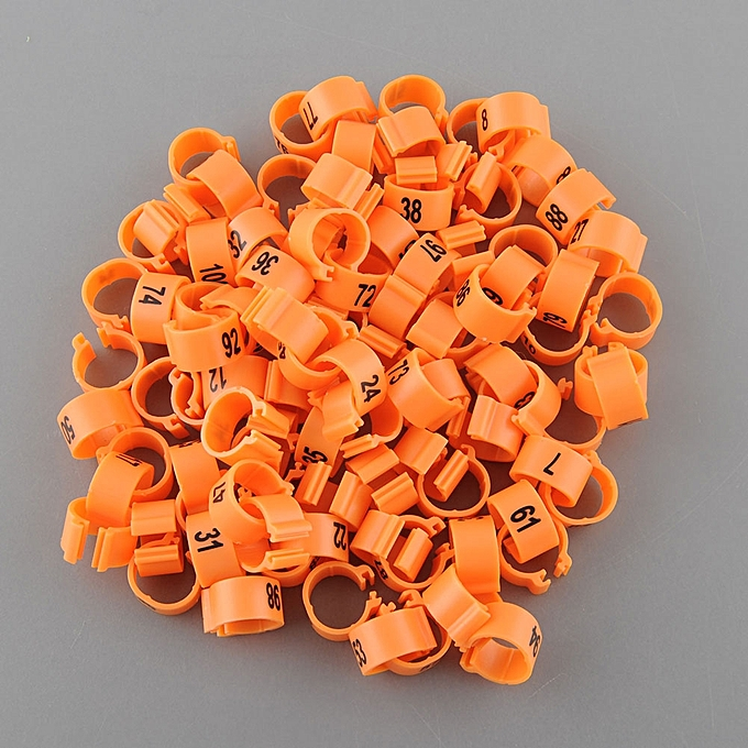 100Pcs Set Poultry Leg Bands Parrot Chicks Hen Orange Rings 1-100 Numbered