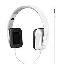 SONATA: White On-Ear Stereo Sound Bass Wired Portable Foldable Headphones with Built-In Mic, HiFi Audio, Noise Isolating and 3.5mm Plug for iPhone, Samsung, Laptop, PC, Mp3 Headphones