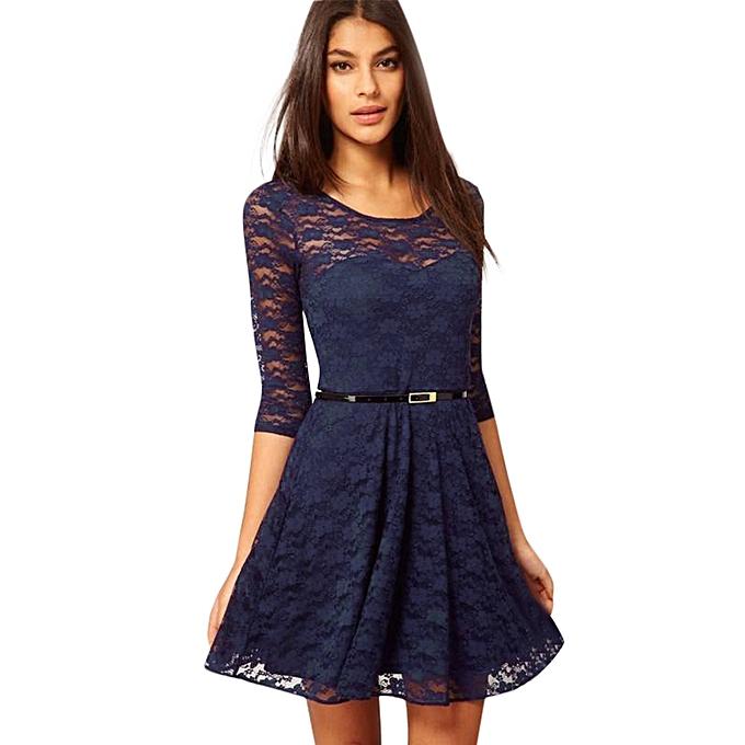 c66454f97157 jiuhap store Women s Spoon Neck 3 4 Sleeve Lace Skater Dress include Belt  Casual Mini