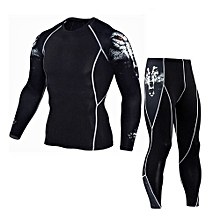 Man Workout Leggings Fitness Sports Gym Running Yoga Athletic Pants+Shirt Suit