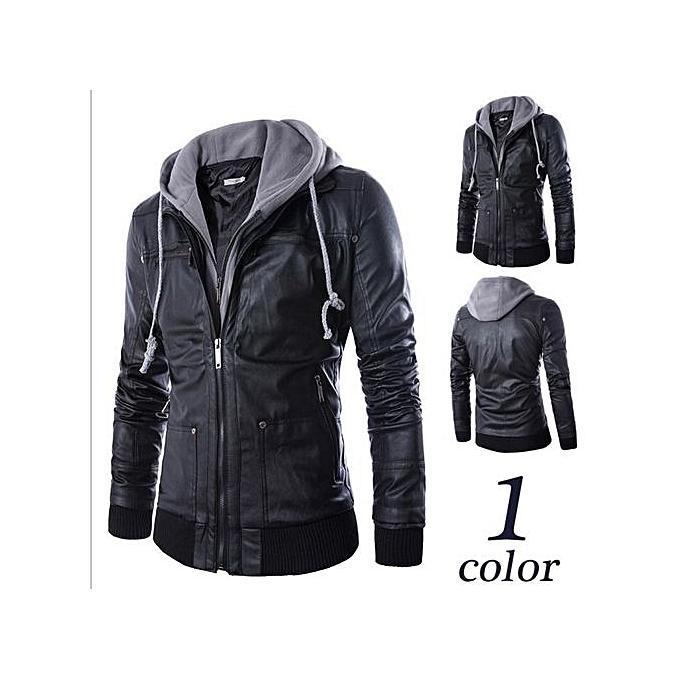 b68d75712 Hot Plus Size Detachable Hooded Men Faux Leather Jacket Black Biker  Motorcycle Mens PU Leather Coat