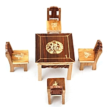 1pc Table & 4pcs Chair Wooden Dollhouse Miniature Furniture Mini Dining Room Toy