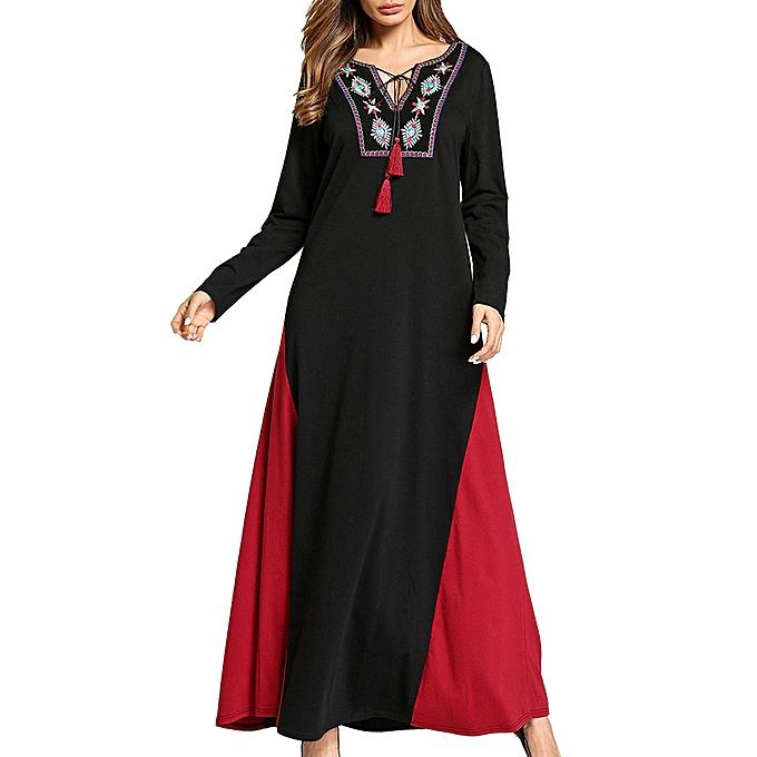 0650840e949 Fashion Ethnic Women Embroidery V-Neck Lace Up Long Sleeve Maxi ...