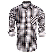 Men Fashion Slim Long Sleeve Plaid Button Down Casual Shirts ( Brown )