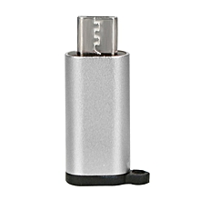 Aluminum USB-C to Micro USB Adapter with Keychain Type-C Converter silver