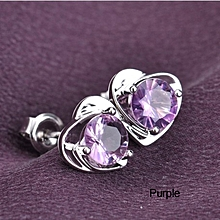 Fashion Jewelry Chic 925 Silver Plated Heart-Shaped Amethyst Crystal Earrings Valentine's Day Gift New ear studs