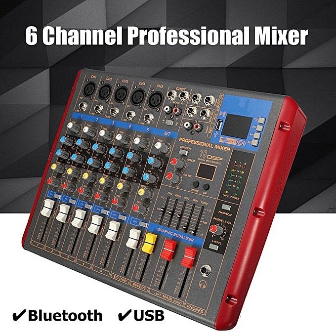 Professional Audio Sound Mixer 6 Channel Bluetooth DSP DJ Digital Mixing  -Black