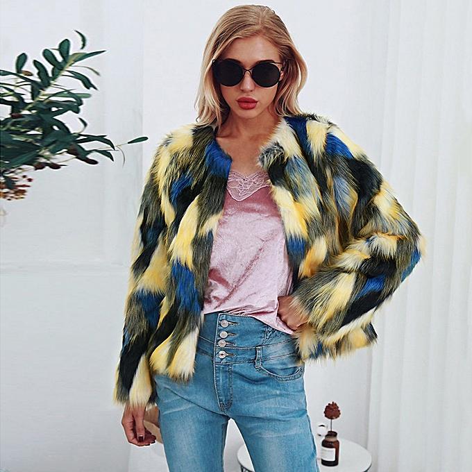 Women Faux Fur Jacket Shaggy Fluffy Mix Color Long Sleeve Winter Warm Slim  Luxury Outerwear Streetwear