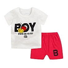 Baby Kids Girl's 100% Cotton T-Shirt And Shorts Set 2pcs For 1-5 Years Children Toddlers (Red)