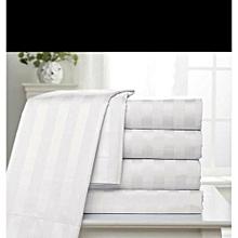 6 pc Duvet Cover set 100% cotton 250 thread count - White Strips. King size