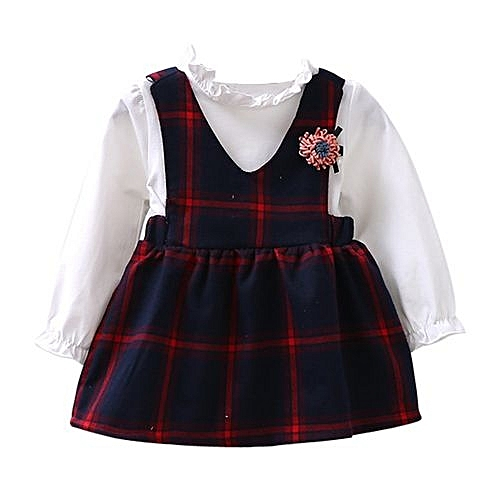 d9270c18447 Eissely Toddler Kids Girls Cute Long Sleeve Bubble Dress Princess Checked Plaid  Dress - Red 8