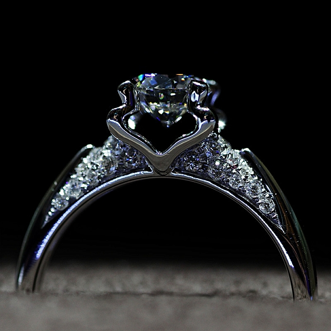 The S Pure Silver Female Quits Luxury Four Claw Diamond Rings Give A Carat Ring Tiny