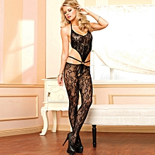de7bbfd525 Sexy Women Lingerie Body Stocking Sheer Lace Halter Open Crotch Erotic  Bodysuit Sleepwear Nightwear Black