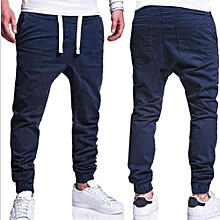 dca49f492b5138 Mens Trousers Sweatpants Harem Pants Slacks Casual Jogger Dance Sportwear  Baggy (Navy)