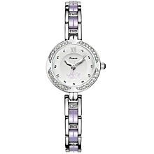Exquisite Silver and Purple Strap Luxury Round Dial Watch - Silver