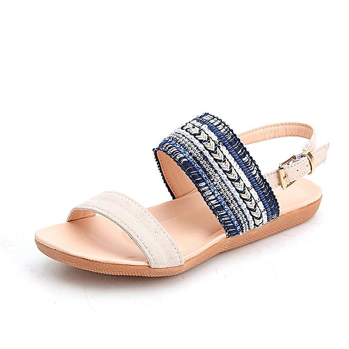 1af267605cf63e Hiamok Women Bohemia Slippers Flip Flops Flat Sandals Toe Beach Gladiator  Ankle Shoes