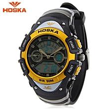 HD014S Dual Movt Kids Sport Quartz Watch Day Alarm Chronograph Display LED Digital Wristwatch-Golden-Golden