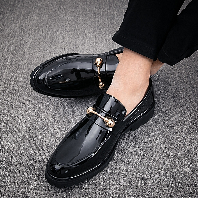 Slip On Formal Shoes Men Patent Leather Moccasins Business Casual Loafers  (Black)