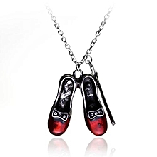 Alice In Wonderland Red Shoes Magic Wand Necklace Long Pendant Chain For Women - Red & Silver