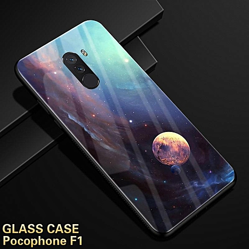 premium selection 35c0b fa32f Glass Case For Xiaomi Pocophone F1 Tempered Glass Case Full Coverage  Cartoon Cover For Pocophone F1 Casing 184140 (1)