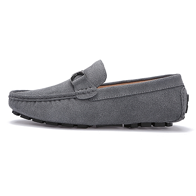 eac40d82f36 ... Mens Slip On Loafers Suede Driving Penny Loafer Moccasins Dress Flats  Boat Shoes Grey ...