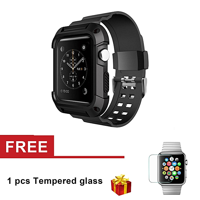 size 40 c821a fdf07 Silicone Resilient Protective Case with Strap for Apple Watch Series 3  Series 2 Series 1 42mm (Black) LJMALL