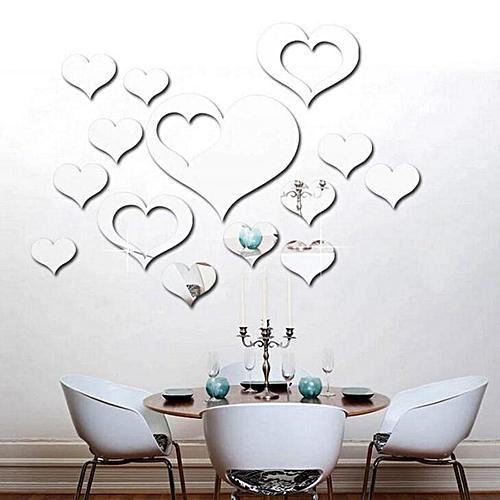 generic honana dx-y2 16pcs cute silver diy heart mirror wall