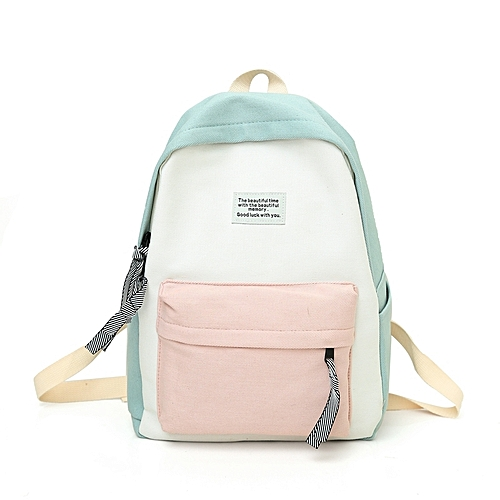 c60897a8fa87 Generic Fashion Canvas Girl Backpack School Bag with Double Zipper (Blue)    Best Price