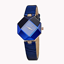 Blue Quartz Leather Strap Womens' Wrist Watch